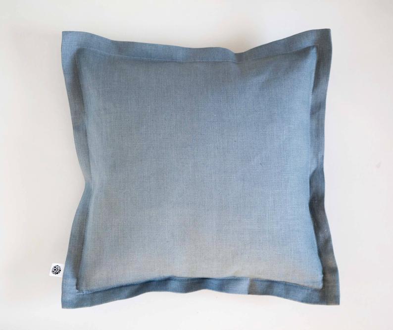 Dusty blue pillow linen bedding throw pillow linen sham image 0
