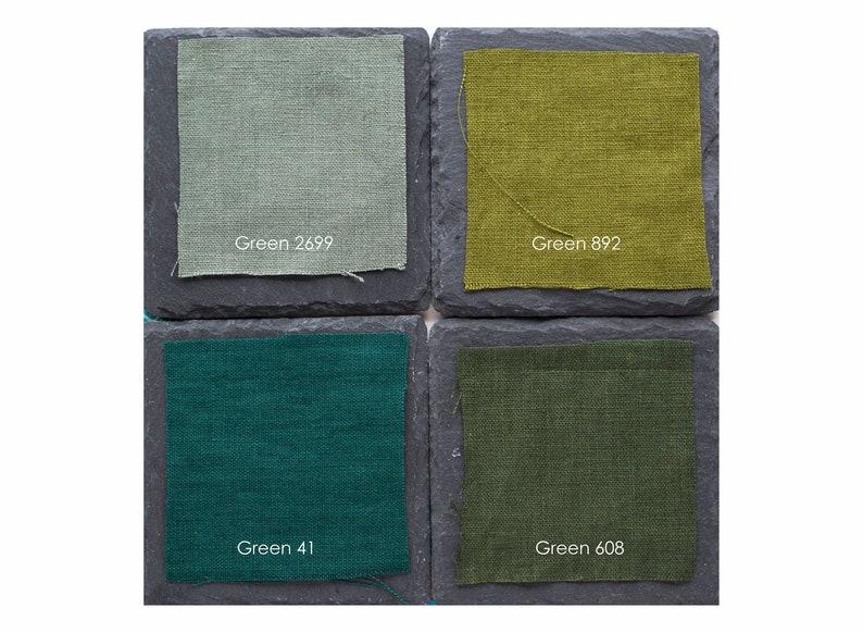 Green Stonewashed linen napkins Softened cloth napkins bulk image 0