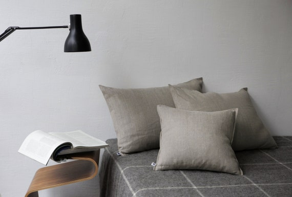 Linen throw pillows - pillowcase for bedroom decor, undyed linen, teen bedroom decor, sofa throw pillow, boho bedding, rustic bedding - 0014