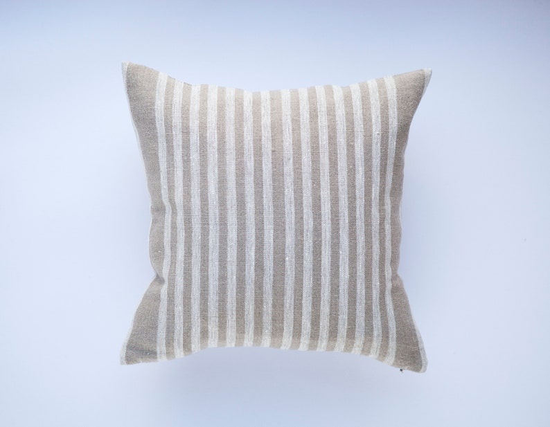 Burlap square pillows for home decor   grain sack cushion image 0