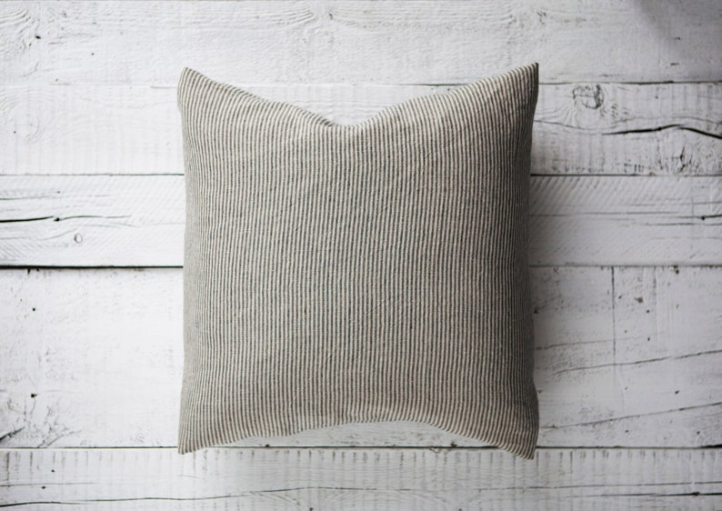 Farmhouse pillow cover Striped pillow case Natural linen with image 0