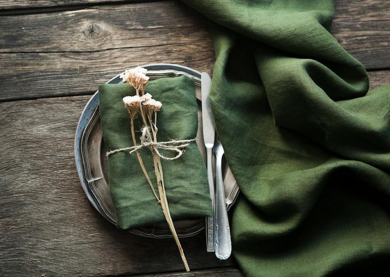Green Washed linen napkins Natural linen napkins  Rustic image 0
