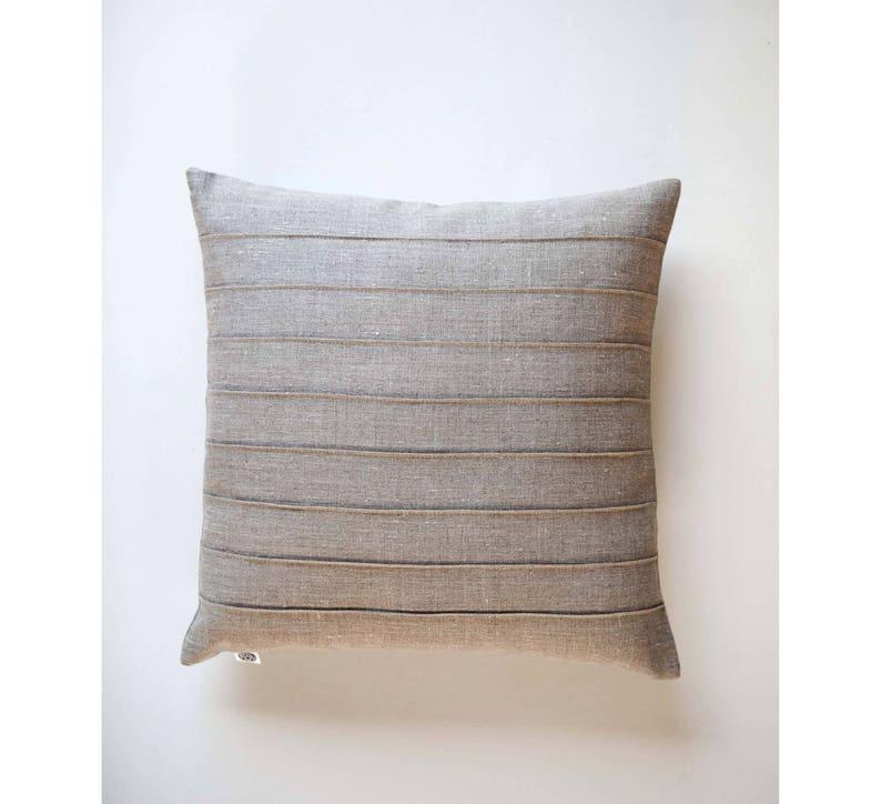 Raw linen throw pillow with sewn lines farmhouse pillow decor image 0