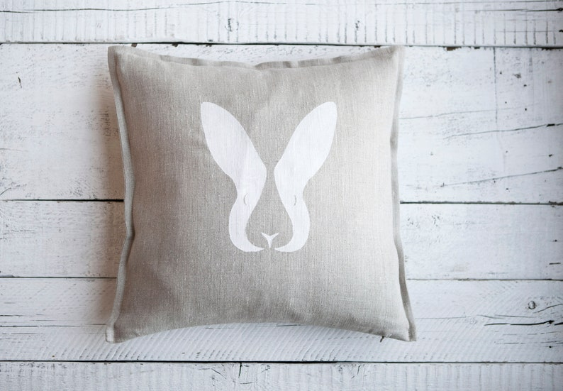 White Rabbit head  natural linen pillow cover 16x16 or 18x18 image 0