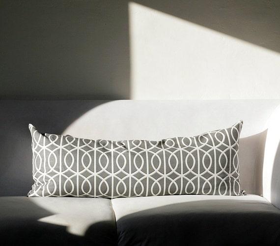 Extra long Lumbar Pillow cover - dwell throw pillow - Grey dwell studio print cushion - summer home decor -  0203