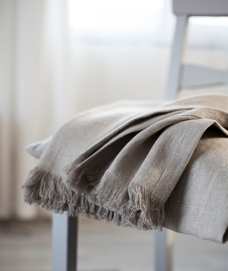 Fringed rough linen blanket Raw linen throw Softened rustic image 0
