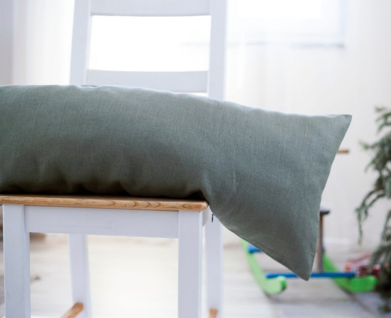 Green lumbar pillow cover Soft green body pillow case Long image 0