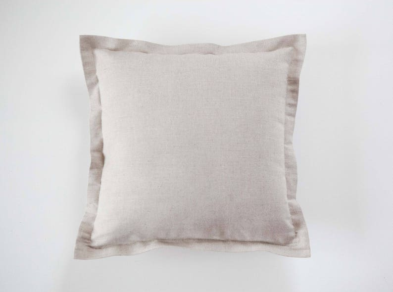 Oxford pillowcase for natural bedding natural linen shams. image 0