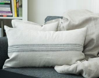Grain sack PILLOW COVER, Ticking Long  lumbar, 16x26 inch size, pillow 16x26