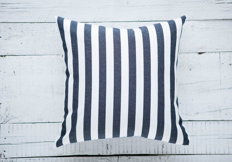 Blue striped Outdoor pillow cover for farmhouse outdoors and image 0