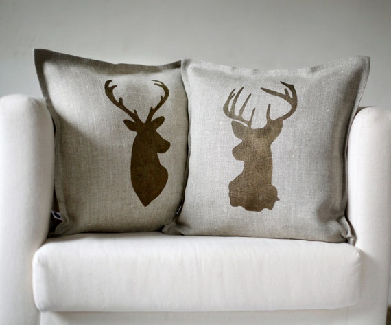 Deer head pillows set of 2, farmhouse pillows decor 0124