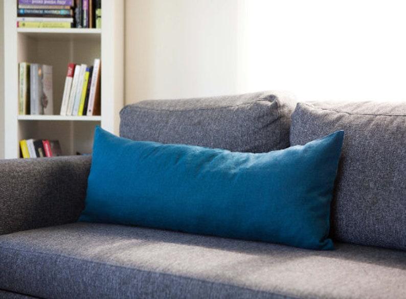 Long lumbar pillow cover teal blue lumbar pillowcase blue image 0
