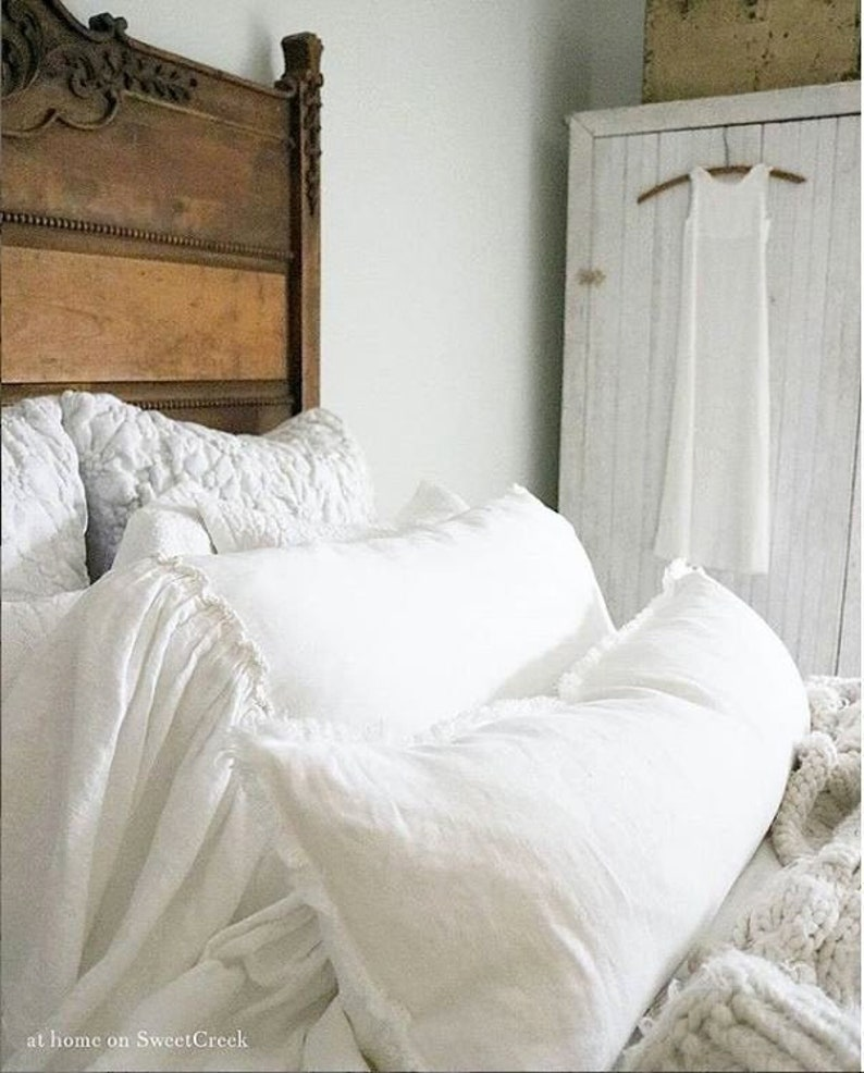 White long linen lumbar Raw edge lumbar pillow cover in 14x36 image 0