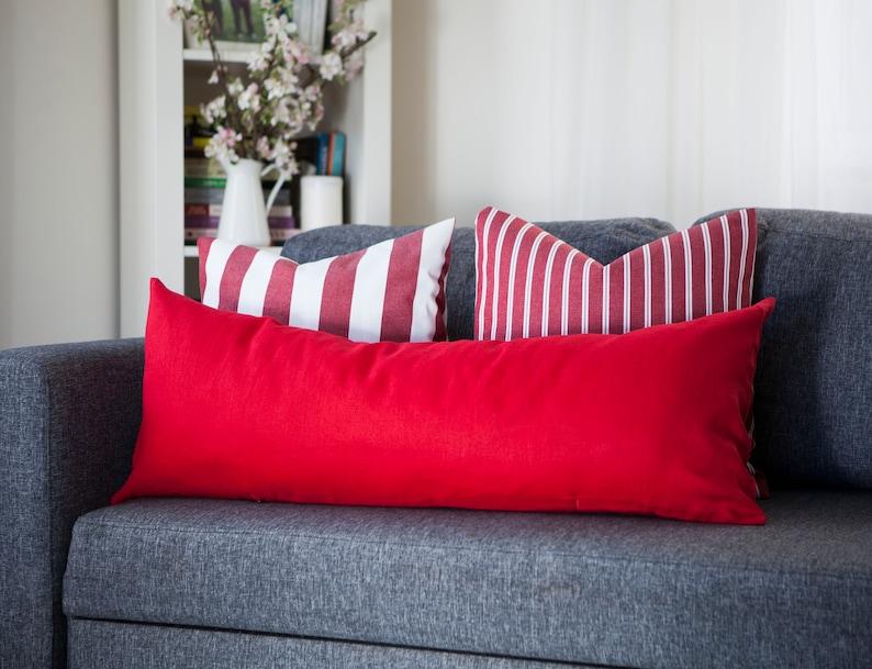 Red Long lumbar pillow cover Bright red lumbar pillowcase  Red image 0