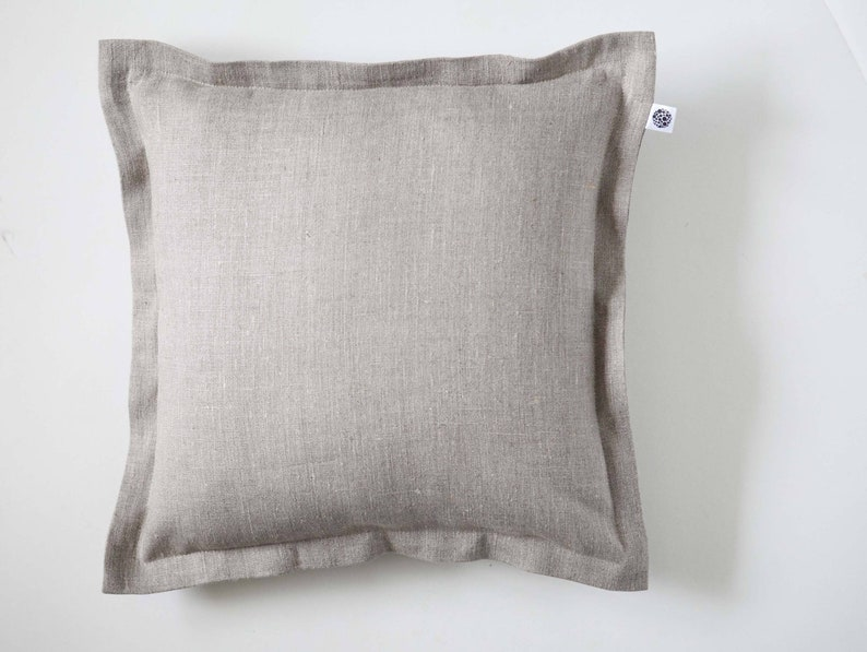 Natural linen throw pillow farmhouse style rustic design image 0