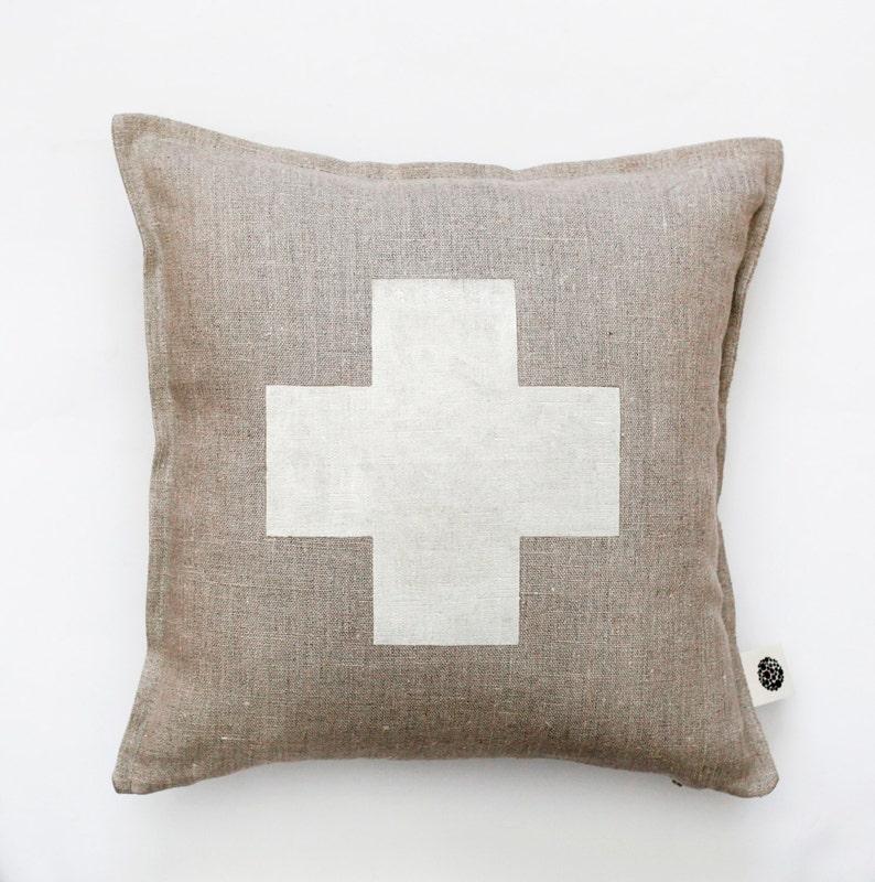 Swiss cross pillow cover gray linen