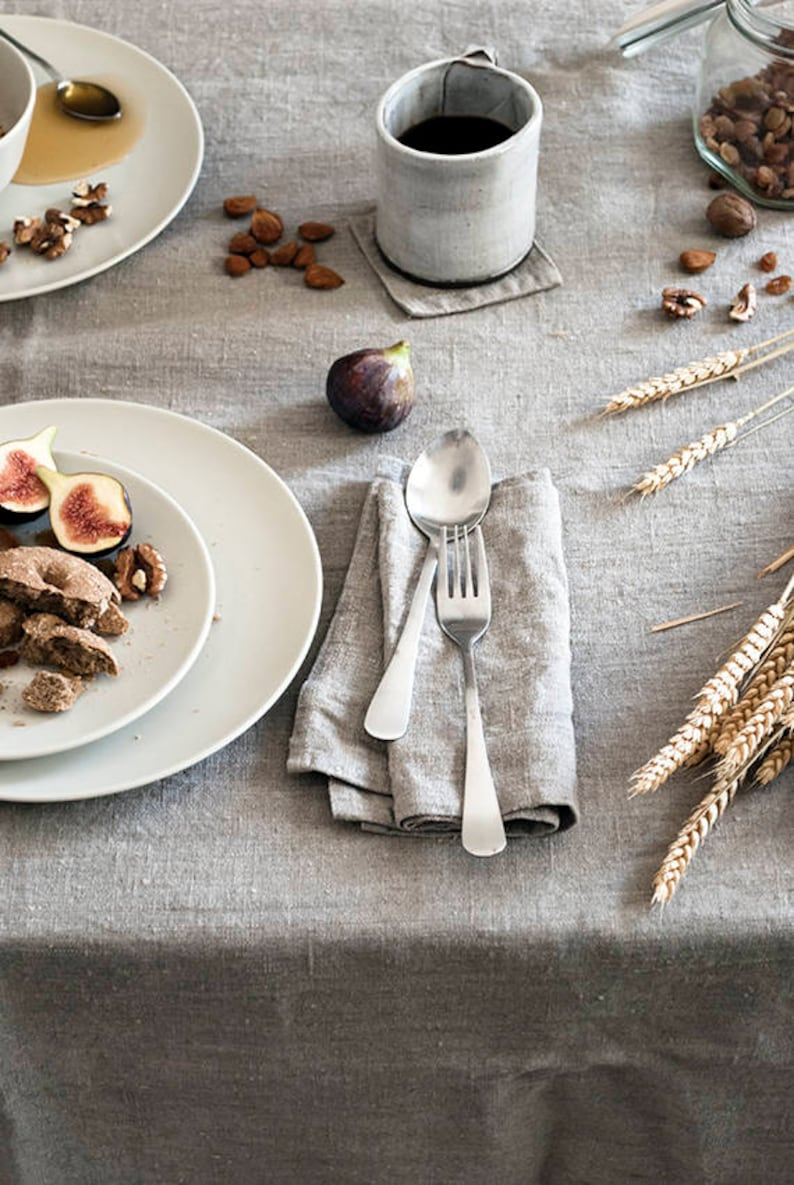 Nautical linen tablecloth softened natural linen rustic image 0
