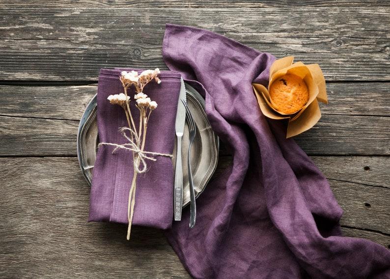 Aubergine stonewashed linen napkins purple linen image 0