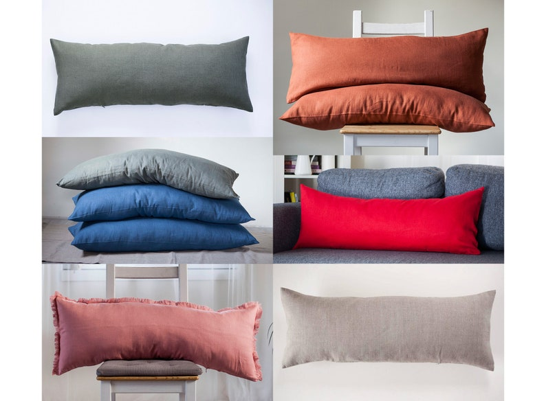 Custom color long lumbar pillow COVER in custom size image 0