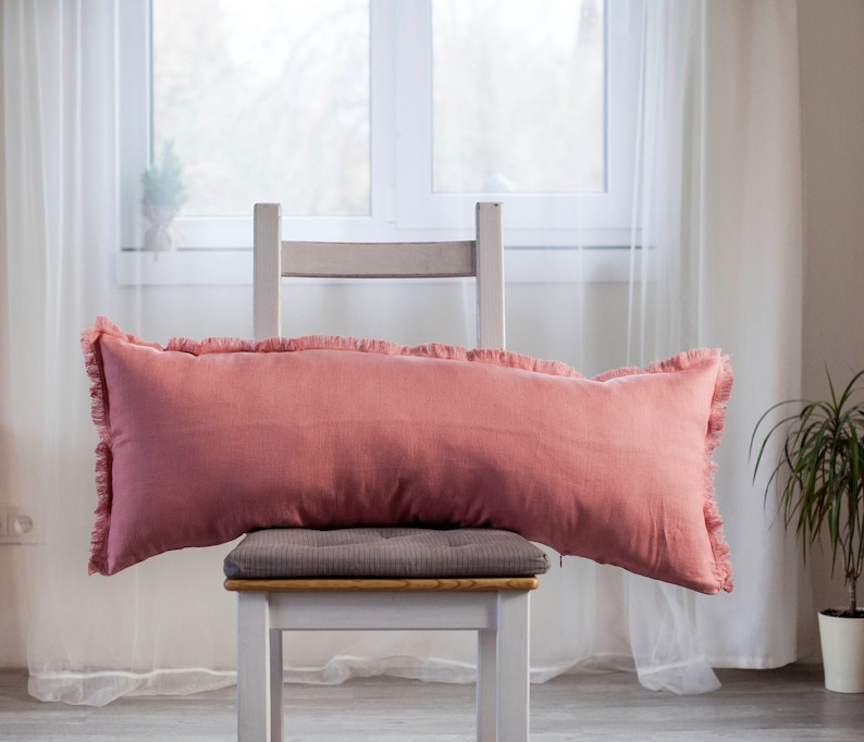 Salmon pink lumbar pillow cover Raw edge long lumbar may be image 0