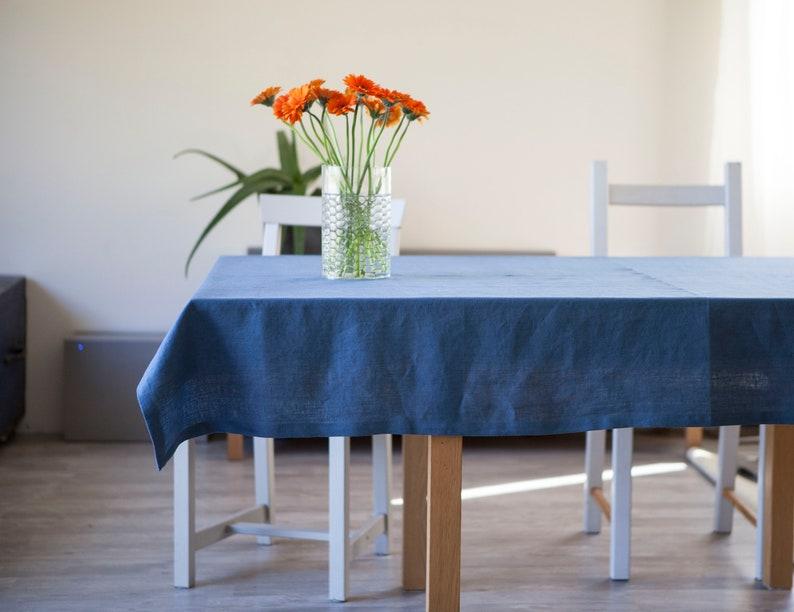 Blue linen tablecloth natural blue linen table decor custom image 0