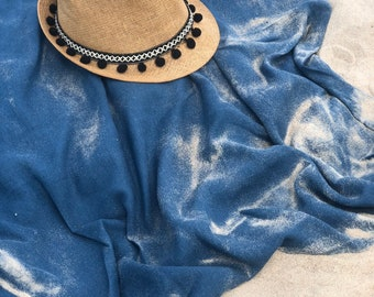 Beach blanket, linen beach blanket, blue linen blanket
