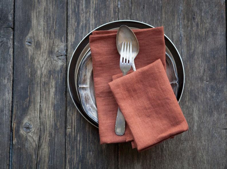 Orange Stonewashed linen napkins Softened cloth napkins bulk Rust orange 2709