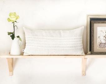 White lumbar pillow cover, pillow 12x20, lumbar ticking lines