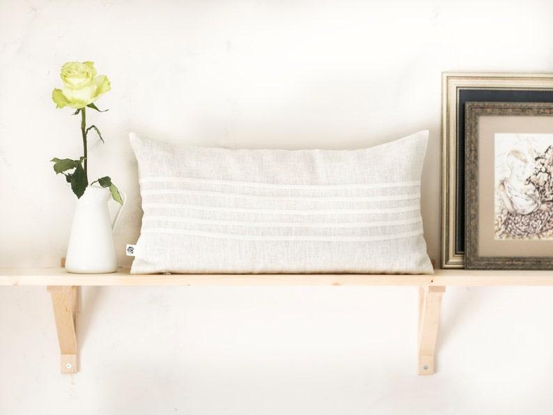 White lumbar pillow cover decorative pillow cover linen image 0