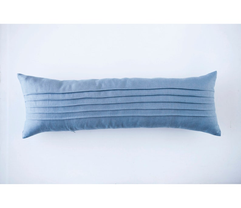 Blue long lumbar pillow cover custom size and color image 0