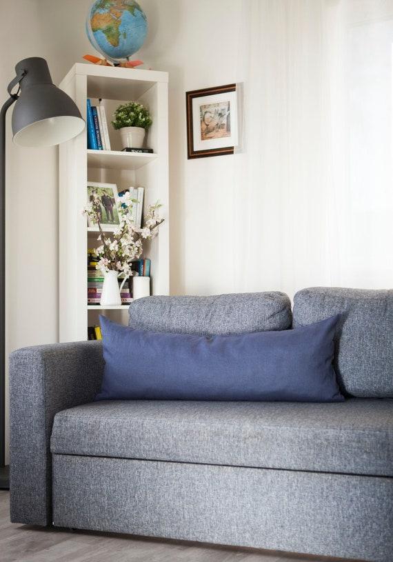 Grey long lumbar pillow cover Oblong