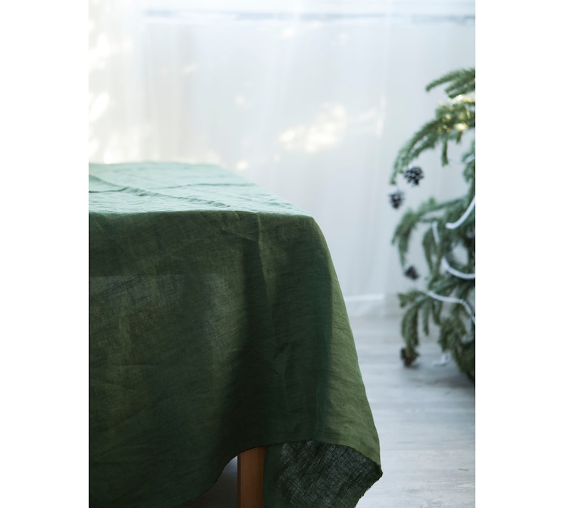 Green linen tablecloth Washed table cloth Farmhouse table image 0