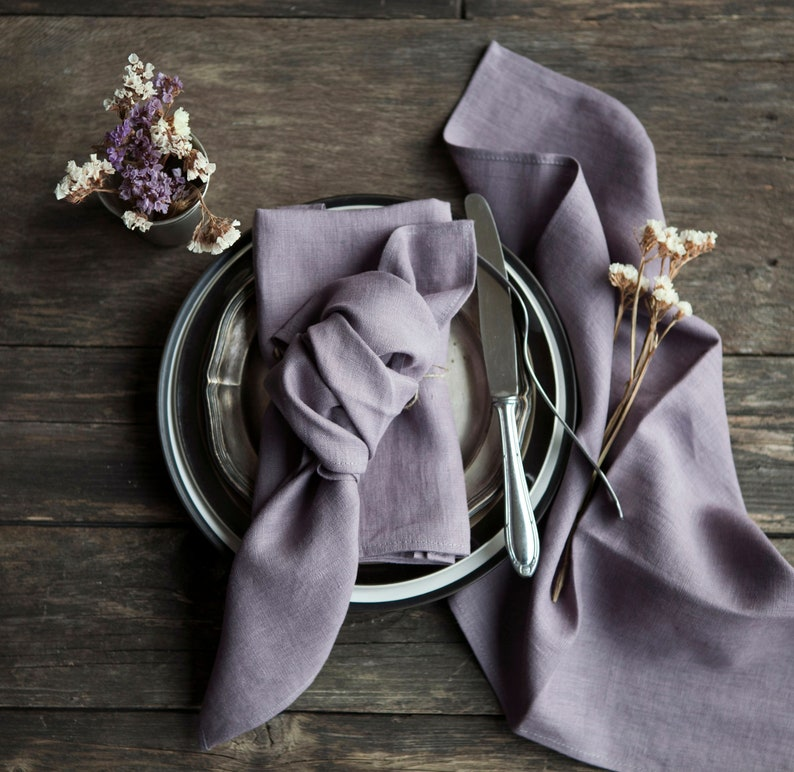Stonewashed linen napkins Dusty purple napkins Cloth napkins image 0