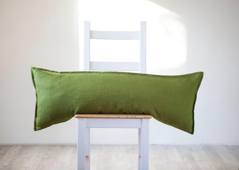 Green long lumbar pillow cover Forest green throw pillow case image 0