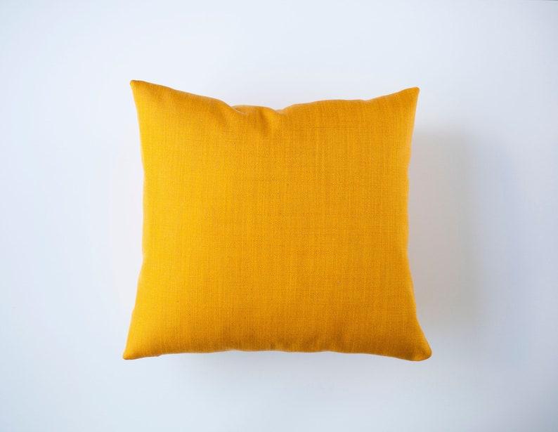 Yellow throw pillows linen blend custom size pillow cover image 0