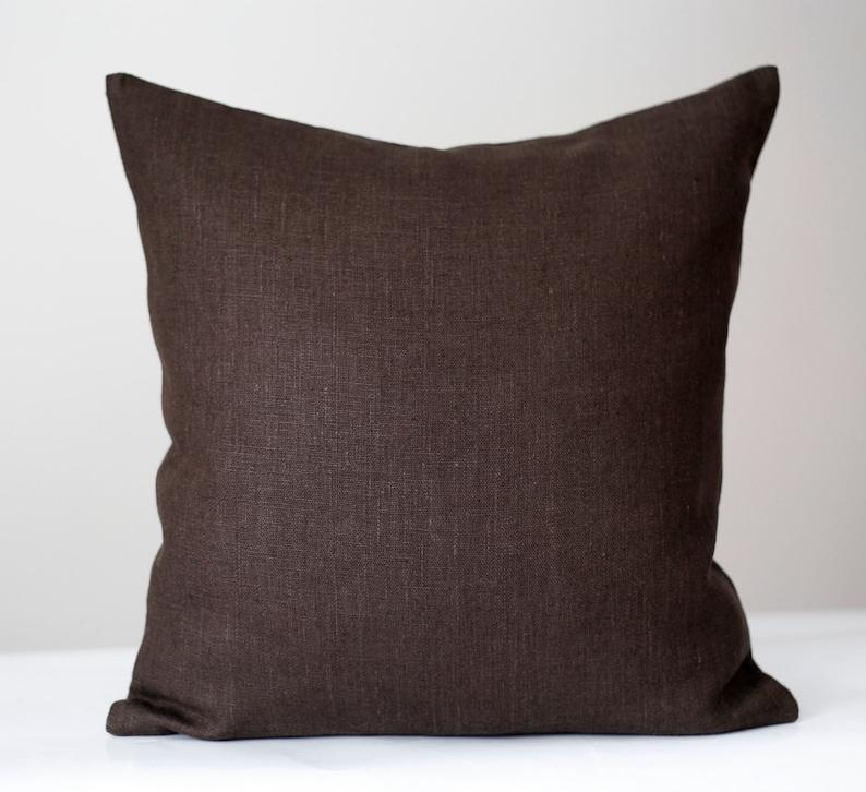 Housse de coussin marron coussin brun chocolat