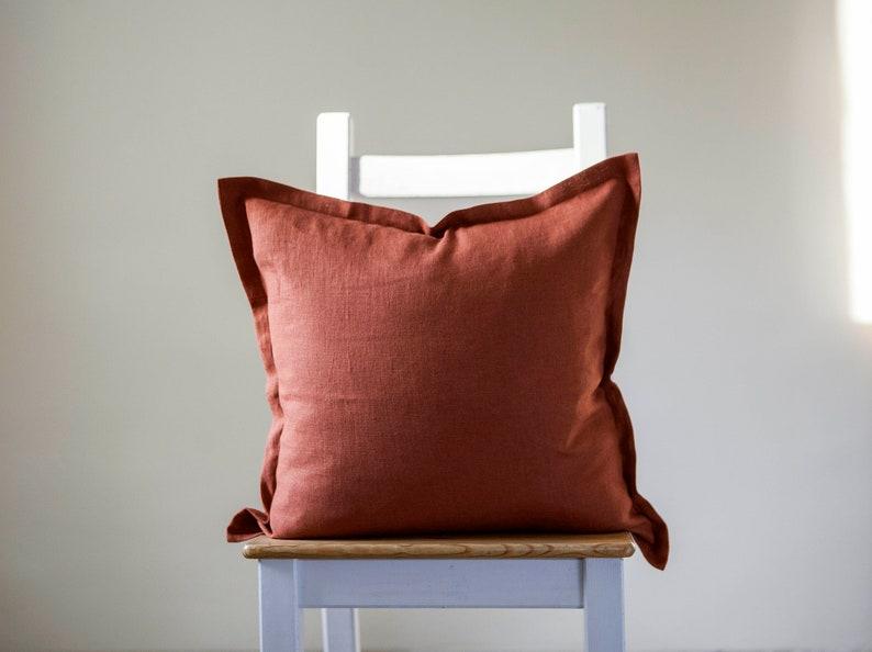 Burnt orange linen pillowcase oxford style burnt orange Burnt orange 2709