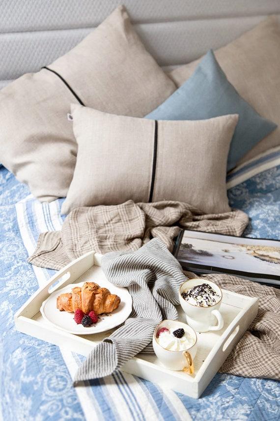 Small lumbar pillow, Natural linen pillow with black zipper around, accent pillow, accent pillow