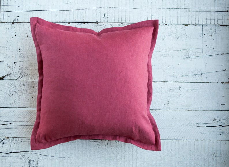 Linen pink pillowcase pink accent pillows selection in custom image 0
