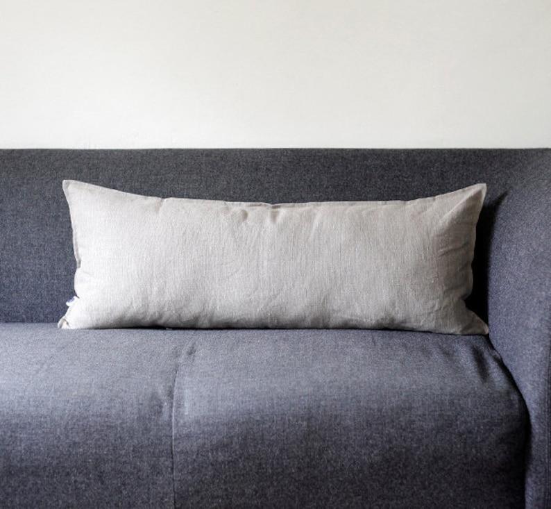Lumbar pillow cover  linen throw pillow  pillowcase  linen image 0