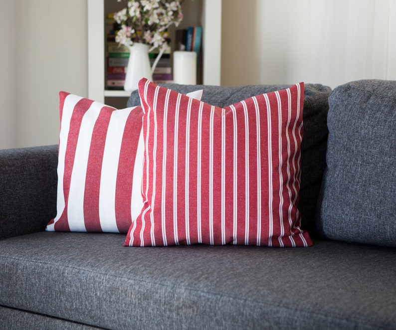 Outdoor pillows red striped, Red throw pillows set for sofa or patio  pillows collection