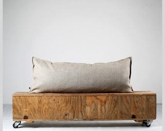 Lumbar pillow cover, long lumbar pillowcase from natural linen, lumbar 14x36 or 14x26, variety of custom size