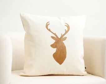 Deer head pillow cover Reindeer Christmas pillow gold print modern pillow winter pillow 0121