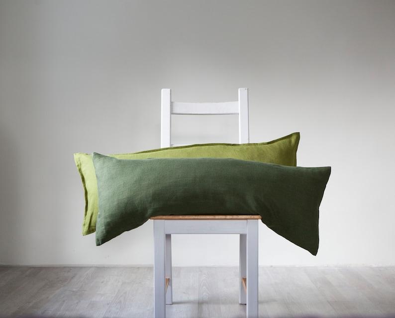 Green long lumbar pillowcases set of 2 custom size image 0