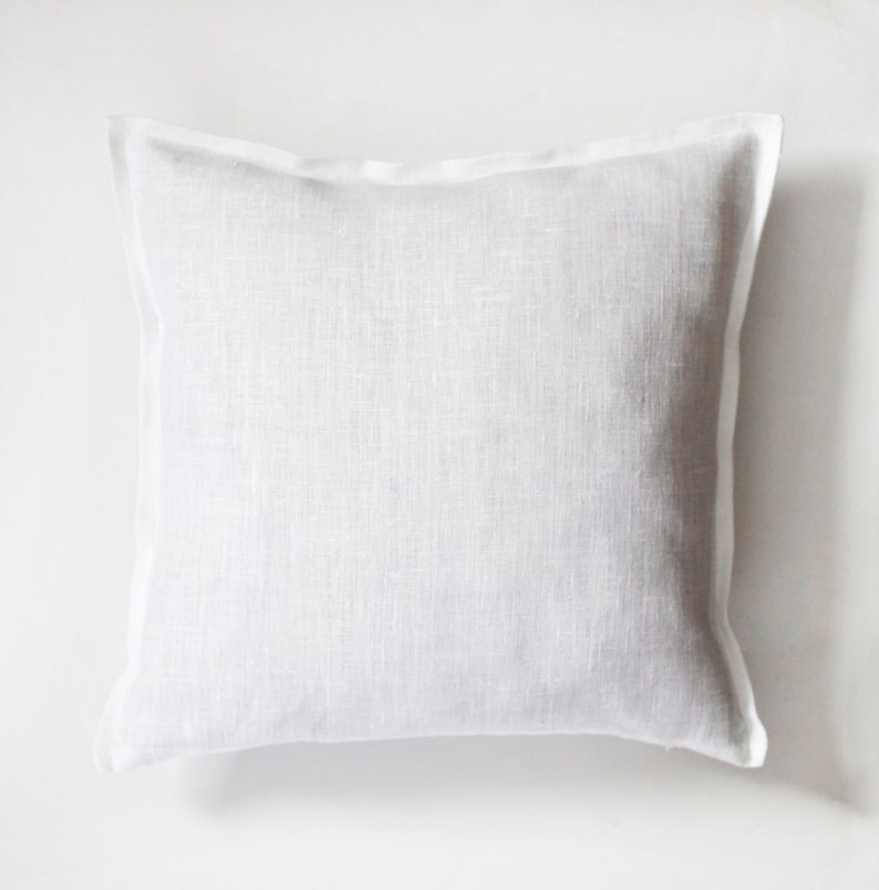White linen pillow case  natural fabric pillow cover   image 0