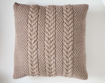 Beige cable knit pillow - knit cushion  - new design cable hand knit decorative cushion cover - pillow throw - handmade home decor  0181