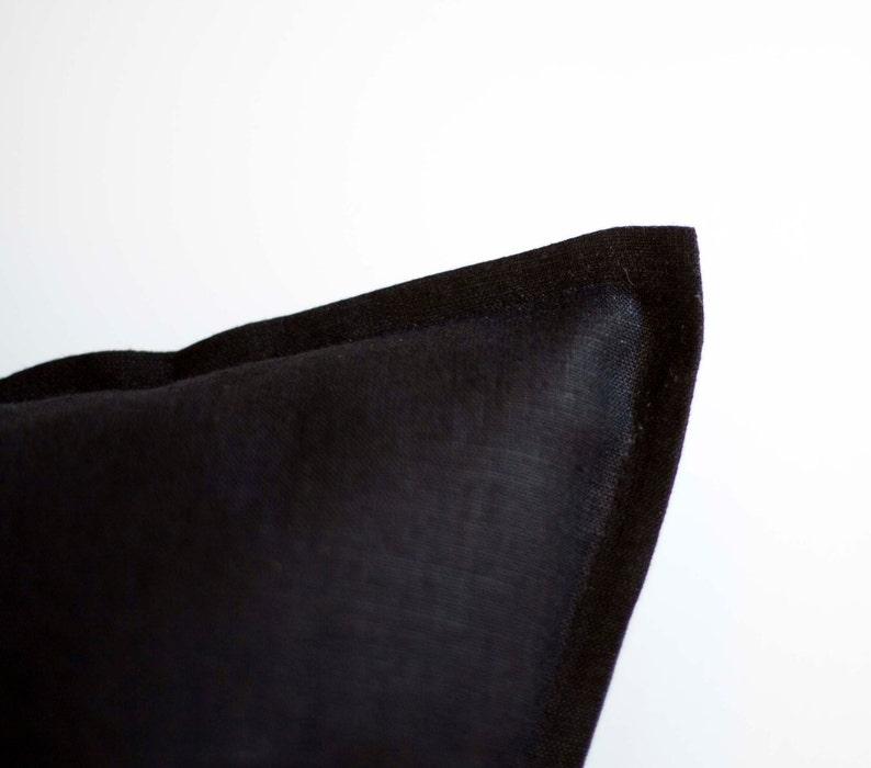linen black pillowcase black cushion cover Black pillow cover