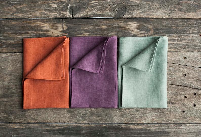 Color linen napkins set of 6  Softened cloth napkins bulk or image 0