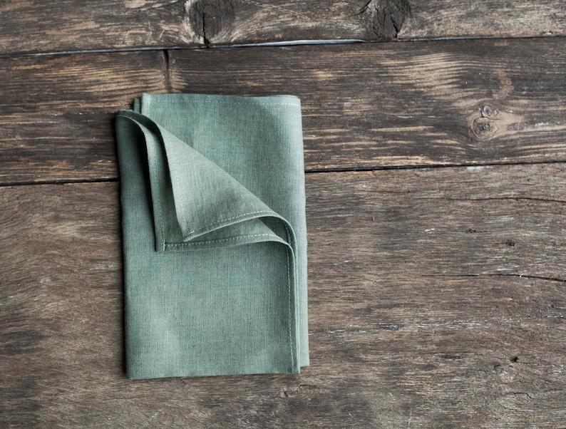Stonewashed green linen napkins Softened cloth napkins bulk image 0