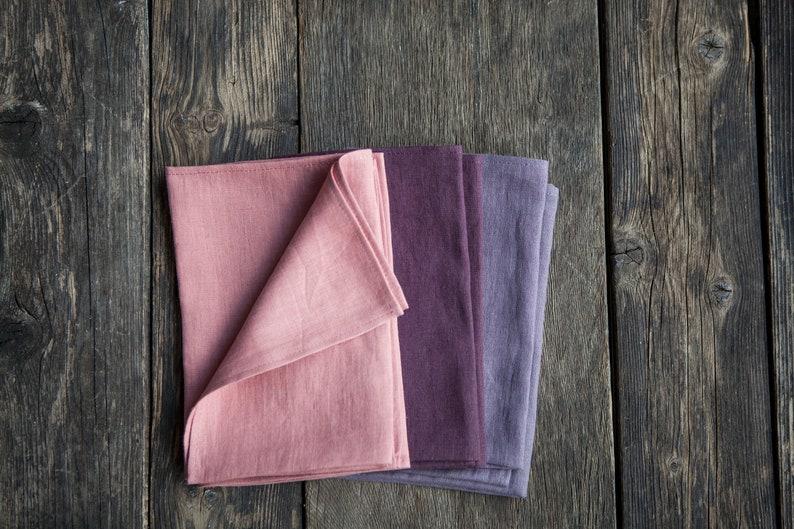 Cloth linen napkins set of 3 pink plum and ash purple colors image 0